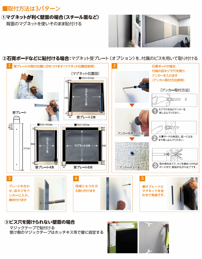 吸音パネルの施工方法