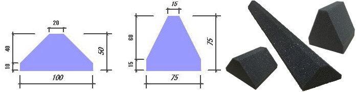 吸音楔の寸法図